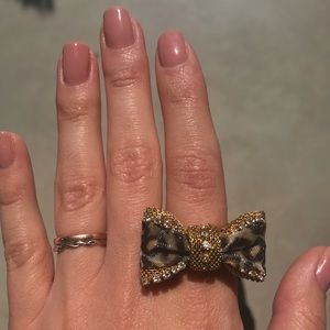 Betsey Johnson Bow Ring Leopard Print
